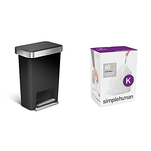 Stainless Plastic Liner - simplehuman 45 litre rectangular step can black plastic + code K 60 pack liners