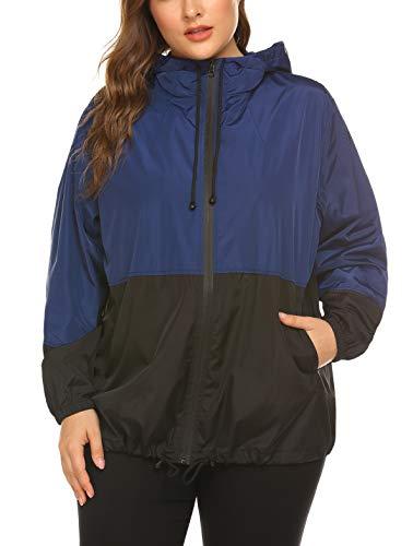 IN'VOLAND Women's Plus Size Raincoat Rain Jacket Lightweight Waterproof Coat Jacket Windbreaker with Hood Navy Blue (Hood Coat)