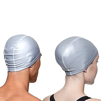 A-code Swimming Cap, Waterproof PU Coating Unisex Head Hat Long Hair Hat for Women and Men for Water Sports (Silver): Home & Kitchen