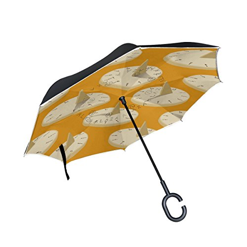 LEISISI Sun Dial Reverse Umbrella Inverted Double Layer Windproof UV Protection Reverse Folding Umbrellas Inverted Umbrella Travel Umbrella with C Shaped - Sundial Golf
