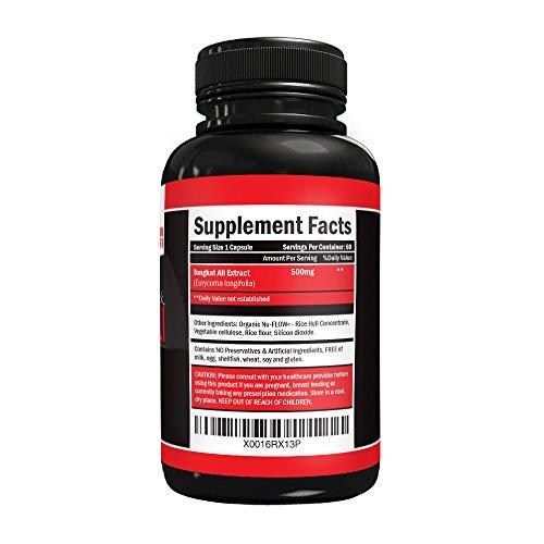 Maximum strength Longjack 200:1 Tongkat Ali 500 mg Testosterone Booster 60 Vegetarian Capsules