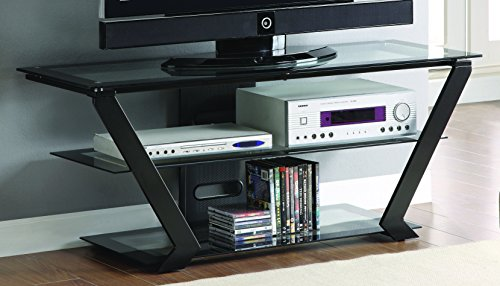 (Coaster Home Furnishings TV Console with 2 Tiers of Graduated Storage Shelves Black)