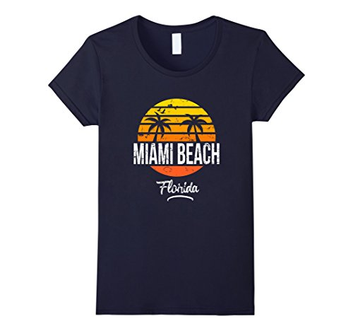 Womens Miami Beach Florida Vintage T Shirt Retro Beach Style Small - Beach Miami Women Of