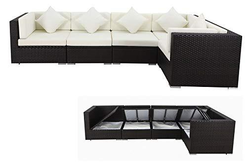 OUTFLEXX XXL Lounge Sofaset aus hochwertigem Polyrattan in natürlichem braun für 6 Personen, inkl. Polster-Kissen und Kissenboxfunktion mit wasserresistenter Innentasche, Zeitloses Design
