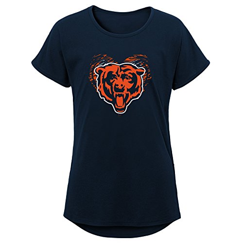 Outerstuff NFL NFL Chicago Bears Youth Girls Sonic Heart Short Sleeve Dolman Tee Navy, Youth -