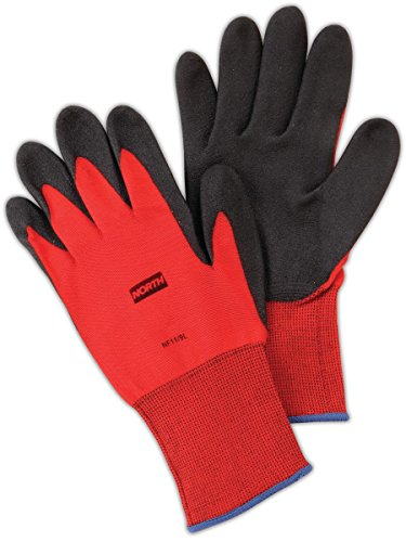 North by Honeywell NF11/9L NorthFlex Red NF11 Foamed PVC Palm Coated Gloves, Nylon, Size 9, Black/Red (Pack of 12)