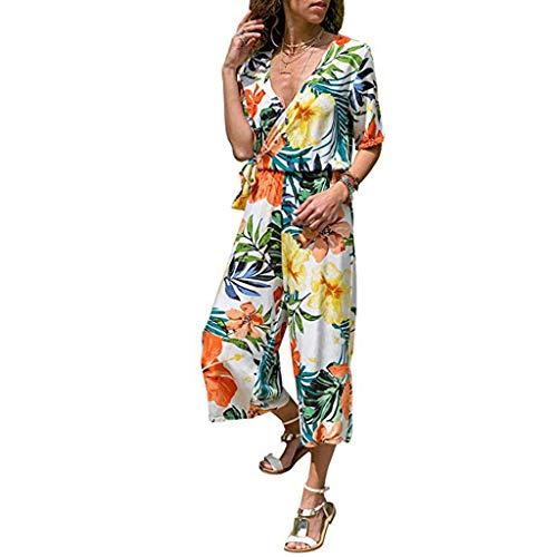 DEATU Wide Leg Jumpsuit Chiffon- Ladies Boho Floral Jumpsuit V-Neck Bandage Lace Up Short Sleeve Cropped Pants Playsuit(Yellow,L)