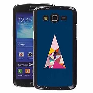 A-type Arte & diseño plástico duro Fundas Cover Cubre Hard Case Cover para Samsung Galaxy Grand 2 (Polygon Art Blue Pink Minimalist)