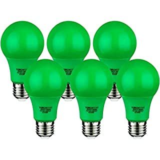 TORCHSTAR LED A19 Green Light Bulb, 7W (40W Equivalent), E26/E27 Base Colored Lights, for Porch, Home Lighting, Independence Day, Veterans Day, Christmas, Holiday, 30,000hrs, Pack of 6