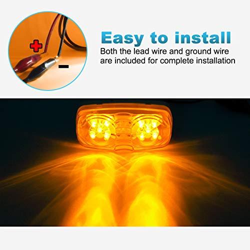 Partsam Five Trailer Marker LED Light Double Bullseye Amber 10 Diodes Clearance Light by Partsam (Image #3)