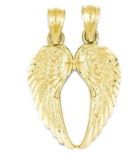 14k Yellow Gold Small Angel Wings Break Apart Pendant Charm