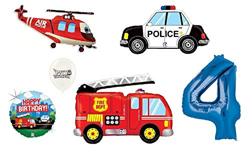 (1st-9th Birthday Option) Rescue Team Ambulance Fire Truck Police First Responders Themed Birthday Party Balloon Bouquet Bundle (4th Birthday) ()