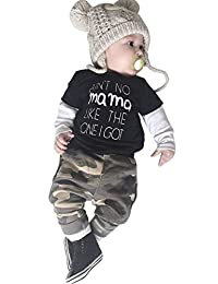 Baby Boy Kids Cotton Black Fake Two Tees+Camouflage Pant 2-Piece Outfits Set