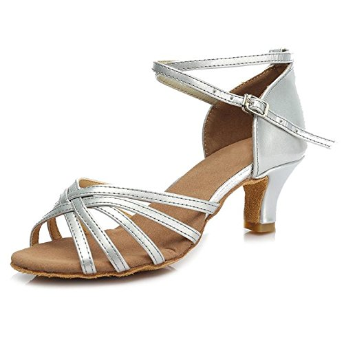 HROYL Zapatos de Baile/Zapatos Latinos de Satén Mujeres ES7-F13 5CM Plateado