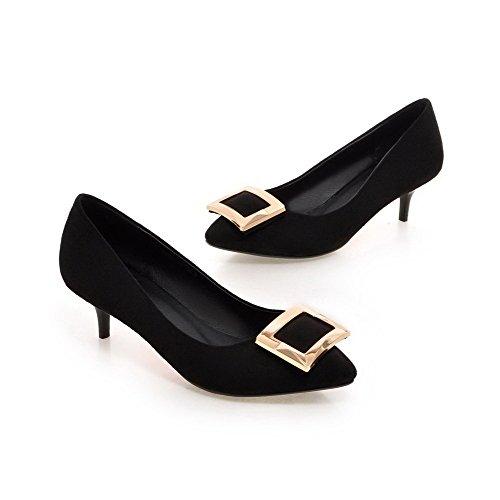 AllhqFashion Damen Ziehen auf Spitz Zehe Mittler Absatz Nubukleder Eingelegt Pumps Schuhe Schwarz