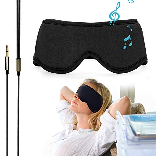 "Sleepace Sleep Headphones Comfortable Washable Eye Mask w' Built-in Light & Thin Earphone for Sleep Sideways, Perfect for Air Travel, Relaxation, Meditation, Insomnia-Black S(20.87""~21.65"")"