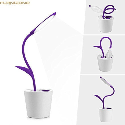 Furnizone Cute Desk Lamp Kids Night Light Flexible Dimmable Touch Lamp Bedside Book Light Study Lamp with Pencil Holder USB Rechargeable Purple