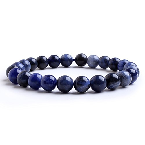 (Candyfancy 8mm Natural Sodalite Healing Elastic Beaded Stretch Bracelet Birthstone for 6-7.5 Inch Wrist Unisex (Sodalite))