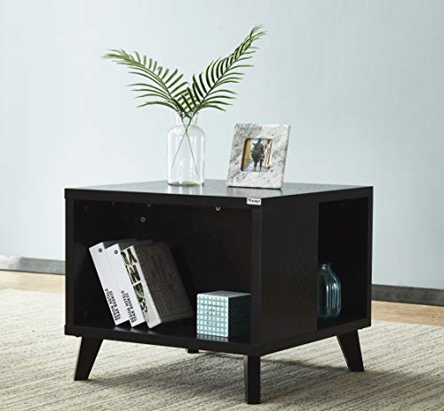Mixcept 23.6 Side Tble Wooden Nightstand with Solid Wood Legs Square End Table for Small Spaces, Black -Style 2