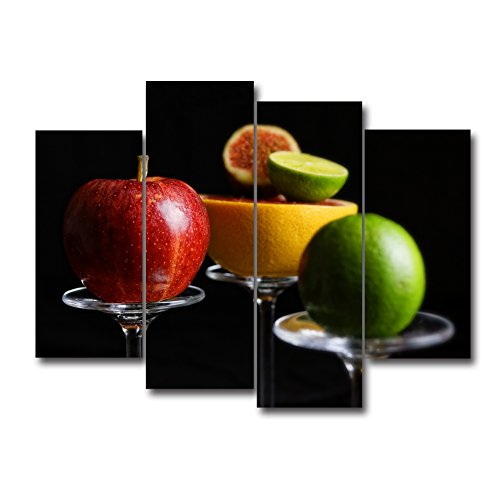 Apples Canvas Art - 4 Panel Wall Artwork Photo Black Background Green Yellow Grapefruit And Red Apple On The Fruit Rack Wall Art Painting Picture Print On Canvas Food For Home Dining Room Modern Decoration by uLinked Art