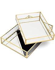 Lumturi 2 Pcs Gold Mirror Tray Decorative, Gold Vanity Tray, Gold Perfume Tray, Dresser Tray, Decorative Jewelry Tray, Perfume Organizer, Makeup Tray for Vanity, Bedroom, Dresser
