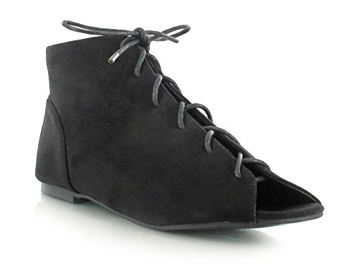 Good Deals Online Faux Suede Lace up Ankle Boot Peep Toe Flat Sandals Super Comfy for a Casual Daytime Look Women's Daytime/Evening Holiday Footwear Black PpLjzylYn