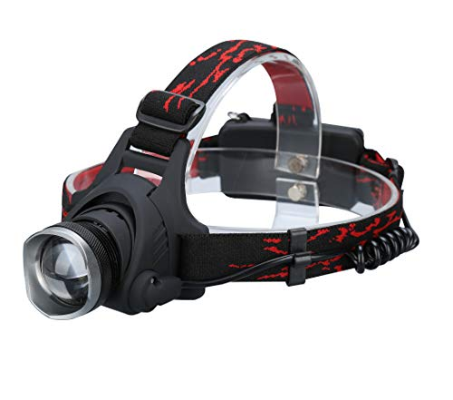 Durapower Headlamp Super Bright 2 Modes Led Headlamp with Zoomable Focusing and Adjustable Lighting Angle and Water Resistant Function Include 3 AAA Batteries