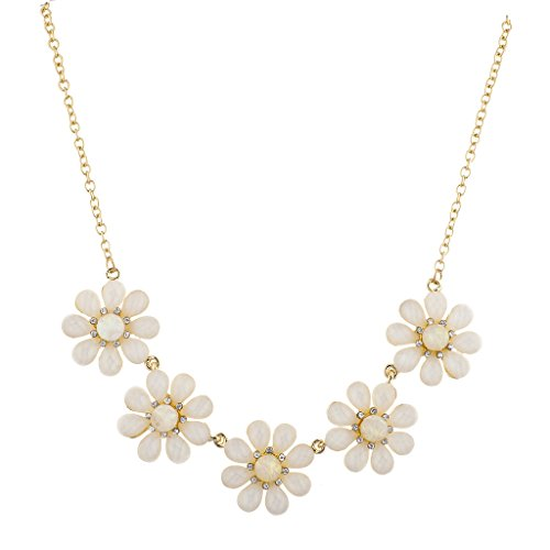 Lux Accessories Gold Tone Ivory Floral Flower 1Row Rhinestone Statement Necklace (Ivory Womens Necklace)