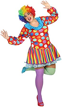 Atosa - Disfraz de mujer vestido payasa lunares multicolores, XXL ...