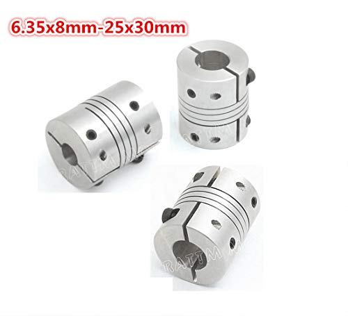 3Pcs 6.35x8mm Flexible Couplers CNC Motor Jaw Shaft 6.35mm To 8mm Aluminum Flexible Couplings Stepper Motor Connector D25L30 Fo CNC Router Milling Engraving Machine