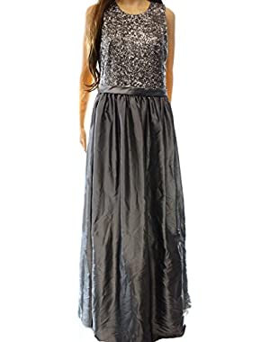 Calvin Klein Women's Sequin Pleated Ball Gown Dress Silver 8