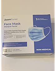 ZoomToner™ Ships from Canada - 100 Pack Disposable Face Masks Masques Safety, 3-Ply Ear Loop