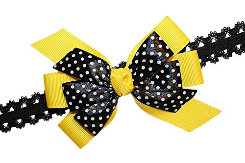 - WD2U Baby Girls Yellow & Black Dotted Bee GrosGrain Hair Bow Stretch Headband USA