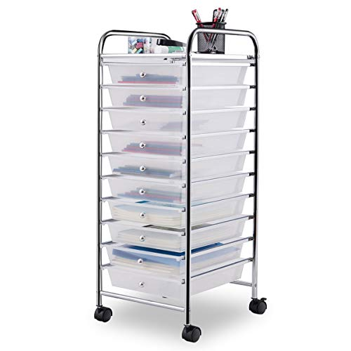 Giantex 10 Drawer Rolling Storage Cart Scrapbook Paper Office School Organizer (Clear)