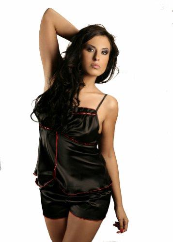Plus/talla única lencería de pijama de raso conjunto de cinta y 8 10 12 14 16 S M XL 2XL Cami juego de funda de negro