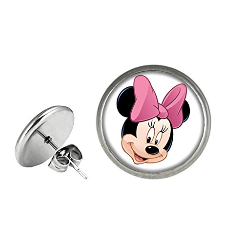 Minnie Mouse Post Stud Silvertone Premium Quality Earrings TV Micky Mouse Club House Comics Movies Cartoons ()