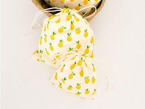 Sac Sac cordon coton cordon ananas à MIX à en Sac à cordon Wa d'impression réception serrage Bouquet de motif 3xDa APS1qx