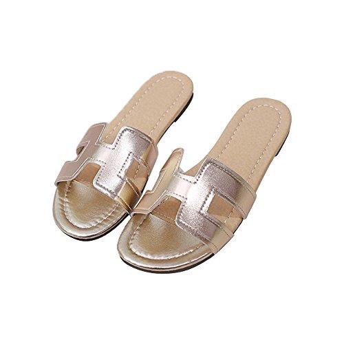 Shoe H Open Slippers Casual Women Sandals Toe golden Slides 0RwzqEgxHO