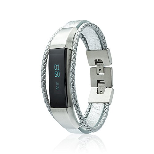 fitjewels Fitbit Alta - Alta HR- Bands, Leather Replacement Band, Available in Black, Brown, Gold, Silver and Grey (Silver, S-M (5.5-6.5 inch)) by fitjewels