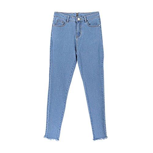 sexy con pantalones claro con personalidad Larga Yefree los Jeans Pantalones vaqueros de Azul cremallera sección RZwZA7qn