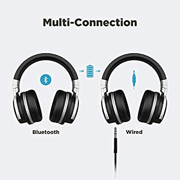 MOVSOU E7PRO Active Noise Cancelling Bluetooth Headphones with Microphone 30H Playtime Hi-Fi Stereo Wireless Headphones with Carring Case