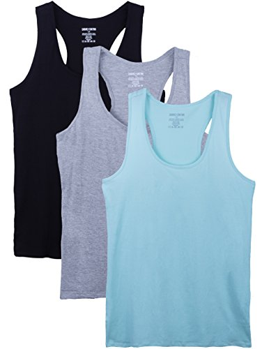 Caramel Cantina 3 Pack Racerback Plus Size Cotton Blend Tank Tops (3X, MNT/HG/Blk)