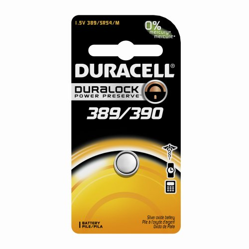 Duracell D389/390PK09 Silver Oxide Electronic Watch Battery, 389/390 Size, 1.55V, 70 mAh Capacity (Case of 6) ()