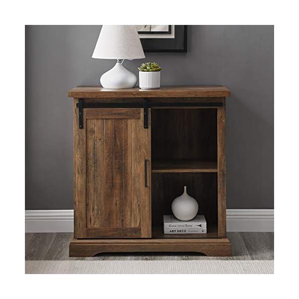 Walker Edison Beaumont Modern Farmhouse Sliding Slat Door Storage Cabinet, 32 Inch, Rustic Oak