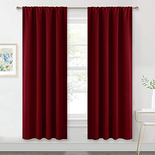 RYB HOME Red Curtains Blackout Window Covering Light Blocking UV Protection Draperies Window Treatments Shades for Babys