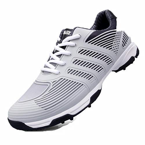 ゴルフシューズ - トレンドランニングシューズ、二重特許技術、マイクロファイバー素材、ソフトで快適なユニセックス機能の屋外ゴルフシューズ EUUK40 Gray B07Q7R3NZY