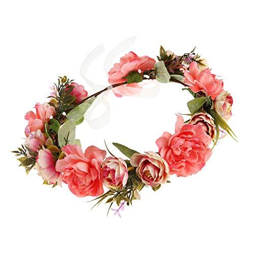1Pc Bridal Wreath Sweet Fashion Fabrics Exqusite Flower Wreath Hair Accessory Garland Wedding Headband For Bride Bridesmaid Lady ()