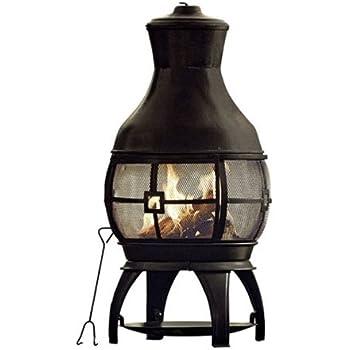 Amazon Com Black 45 Quot Tall Steel Chiminea Fire Pit