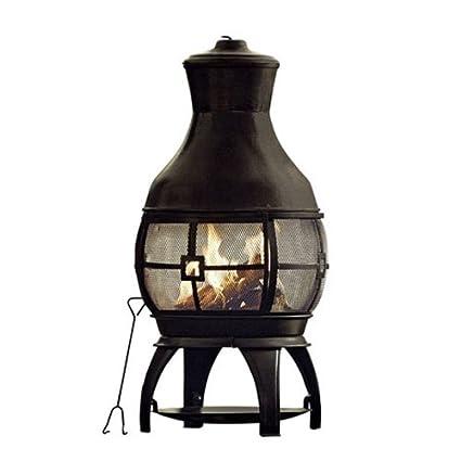 Black 45u0026quot; Tall Steel Chiminea Fire Pit Outdoor W/ Poker ...