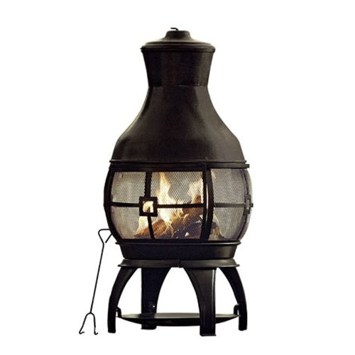 Black 45″ Tall Steel Chiminea Fire Pit Outdoor W/ Poker & FREE Cover For Sale